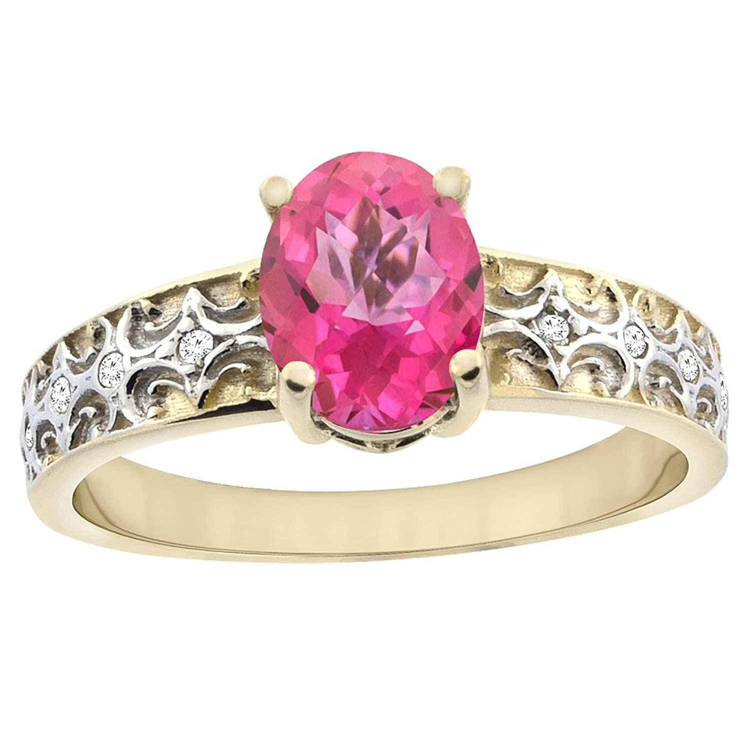 Amazon.com: 10K Yellow Gold Natural Pink Sapphire Ring Oval 8x6 mm ...