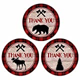 Lumberjack Party Thank You Sticker Labels - Plaid Wedding Birthday Baby Shower Favors - Set of 30
