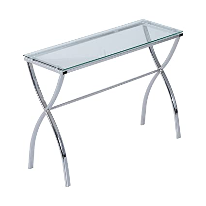 HomCom Contemporary Modern Chrome Glass Console Table For Entryway And  Hallway