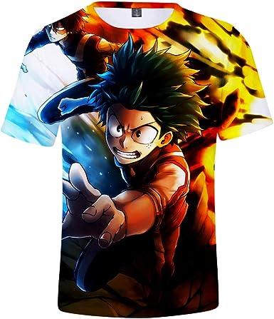 DTYTX 3D HD Unisex Camiseta Impresa Top De Manga Corta Impresa Cuello Redondo Informal Boku No Hero Academia M: Amazon.es: Ropa y accesorios