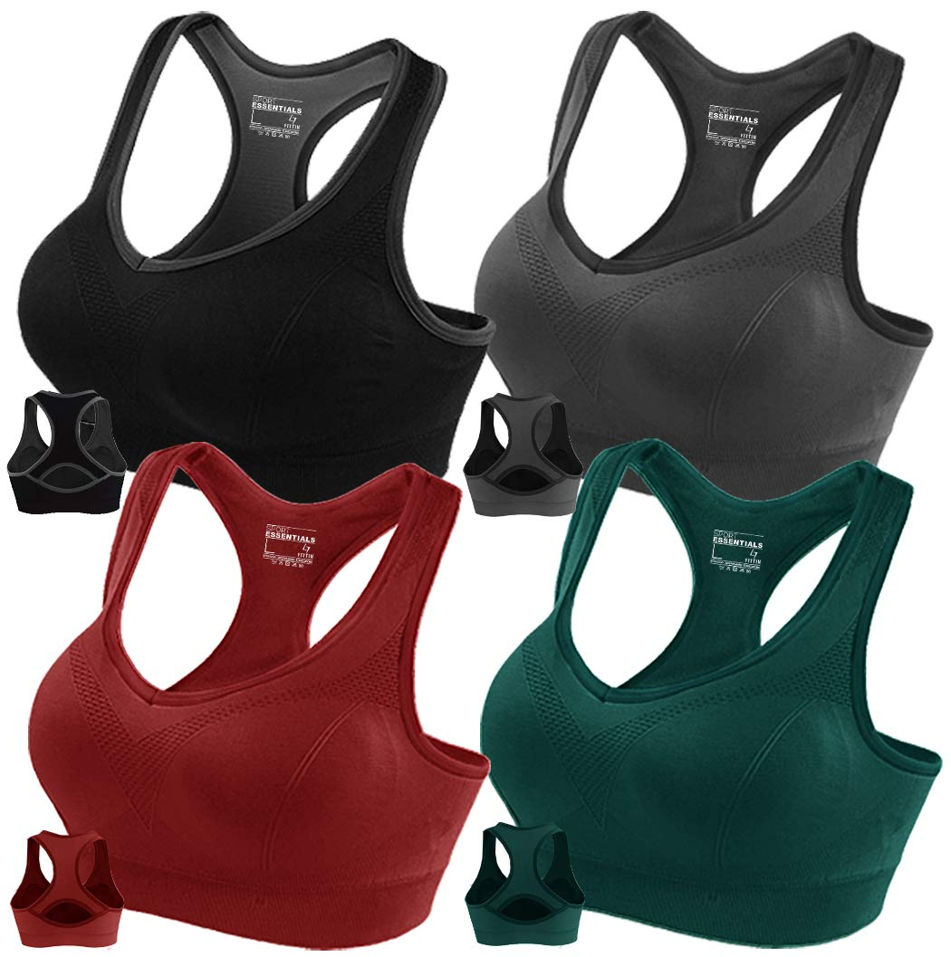 FITTIN Racerback Sports Bra Pack of 4- Padded Seamless High Impact Support for Yoga Gym Workout Fitness Small