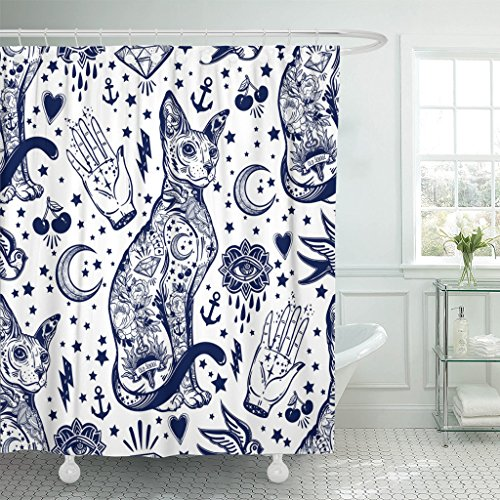 Emvency Shower Curtain Vintage Style Traditional Tattoo Flash Magic Inked Cat Doodle Trendy Stylish Old School Artwork Waterproof Polyester Fabric 72 x 72 inches Set with Hooks