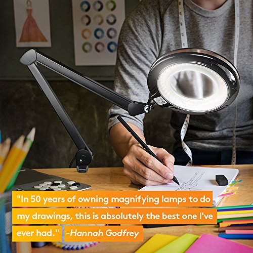 Brightech Light View PRO LED Magnifying Clamp Lamp - Daylight Bright Magnifier Lighted Lens – Dimmable with Adjustable Color Temperature Utility Light for Desk Table Task Craft or Workbench –black by Brightech (Image #3)