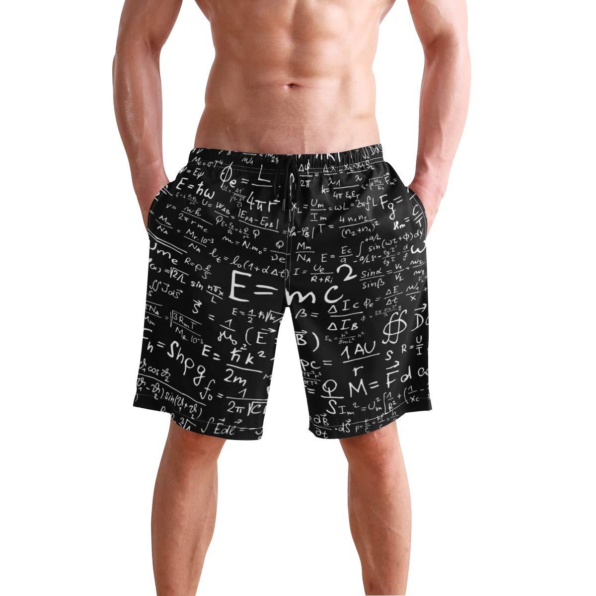 DongDongQiang Men Summer Physics Mathematics Equation Quick Dry Volleyball Beach Shorts Board Shorts
