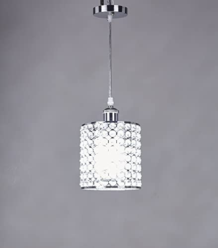 Broadway Silver Classic Crystal Chandeliers Modern Lamps Pendant Light Ceiling Fixture, BL-AFA D-L1 W7 X H10 Inch