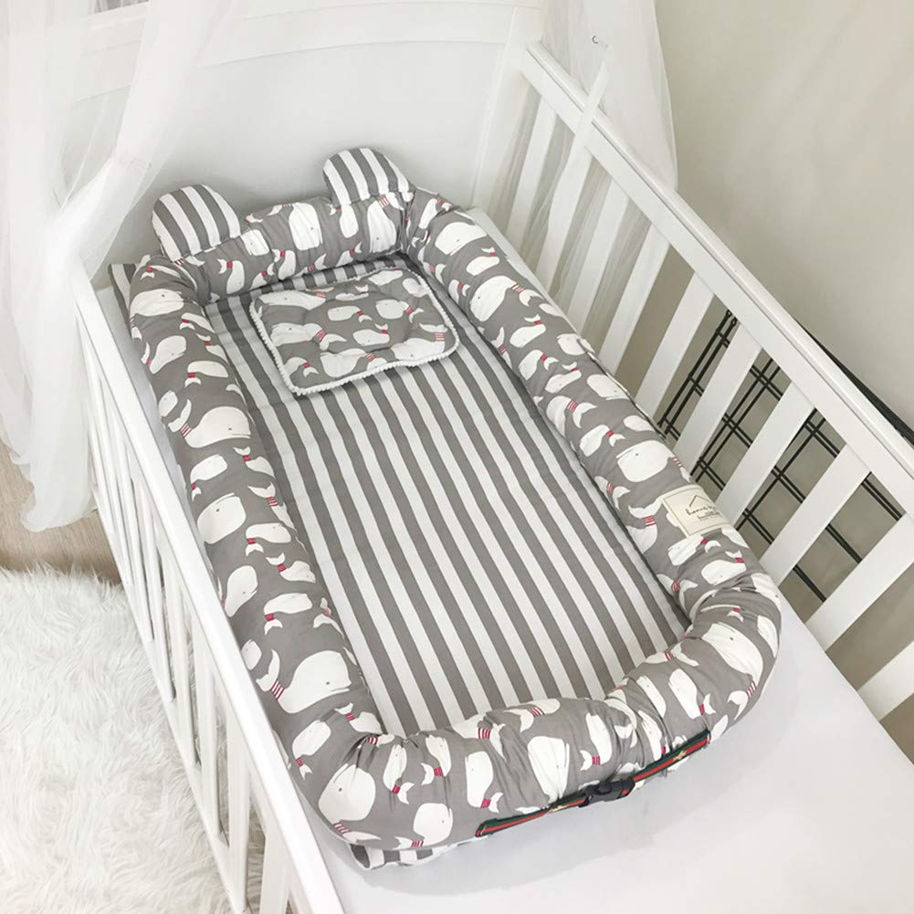 V-mix Organic Newborn Lounger/Bed Bassinet, Perfect for Cuddling, Lounging and Co Sleeping, Portable Changeable Cover Crib Good Breathable & Hypoallergenic (Little Whale) by V-mix