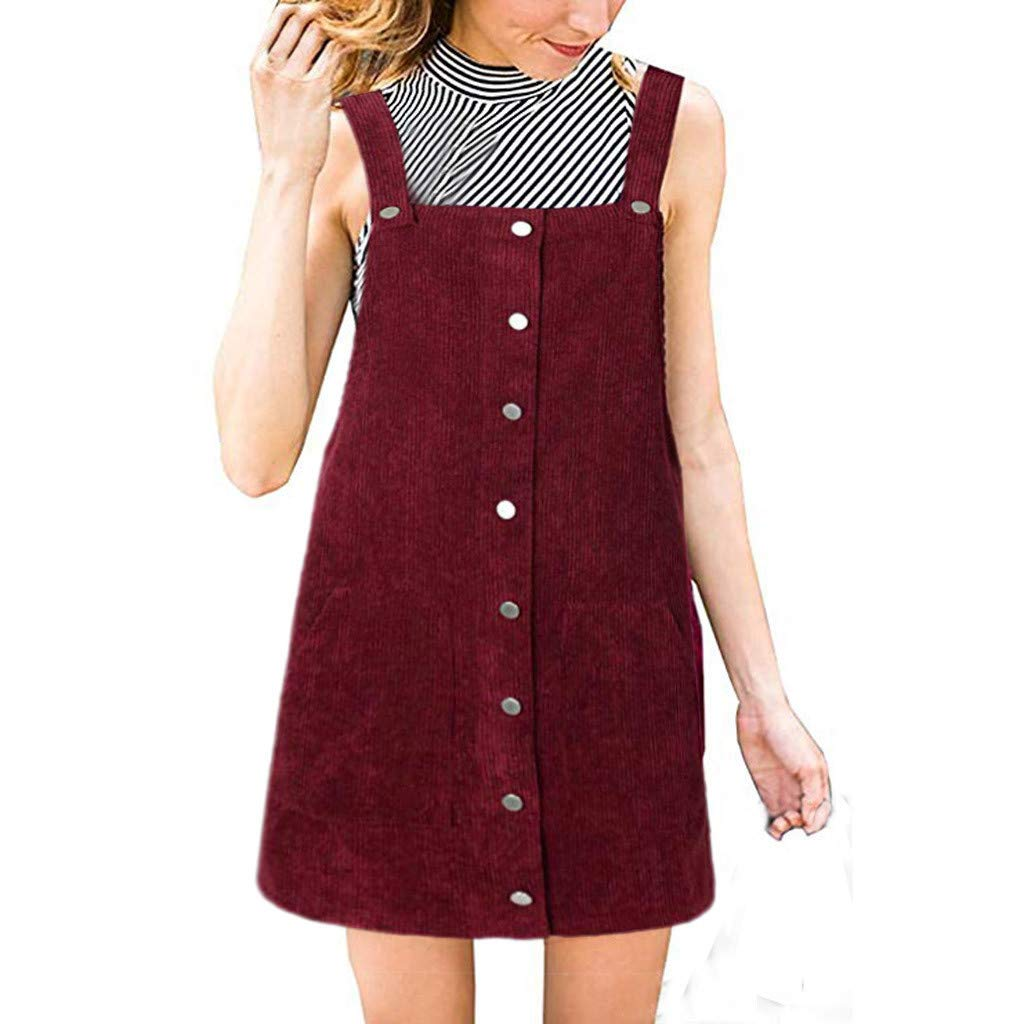 Ulanda Women's Straps A-line Corduroy Suspender Skirt Pinafore Bib Overall Dress with Pocket Red