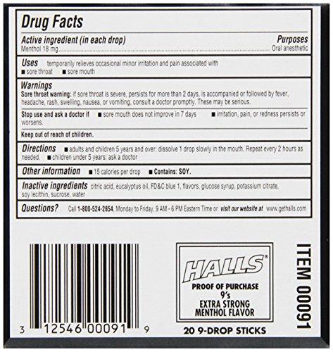 Halls Intense Cool Cough Drops Menthol 9 Drops 20 Pack