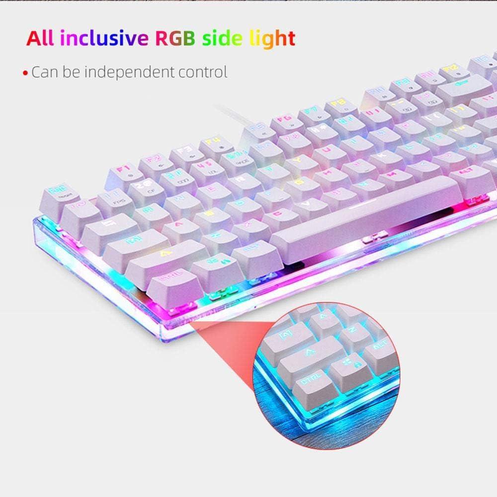 Colorful Gaming Mechanical Keyboard 87 Keys RGB Backlight Red Blue Switch USB Wired Keyboard English Gamer