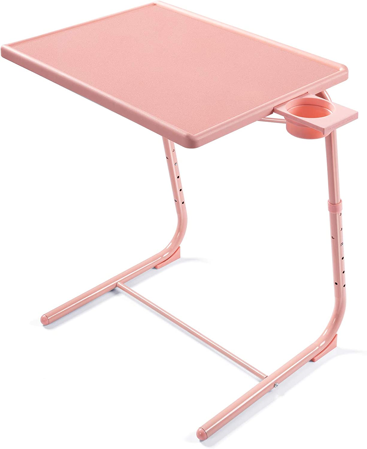 Adjustable TV Tray Table - TV Dinner Tray on Bed & Sofa, Comfortable Folding Table with 6 Height & 3 Tilt Angle Adjustments (Pink)