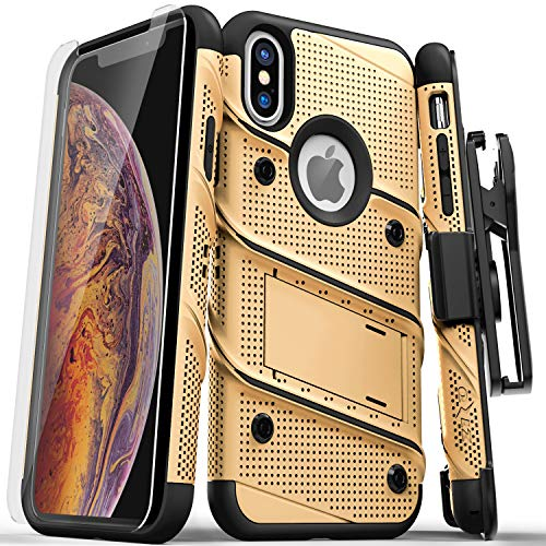 Zizo Bolt Series Compatible with iPhone Xs Max case Military Grade Drop Tested with Tempered Glass Screen Protector, Holster, Kickstand Gold Black