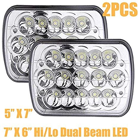 7X6 or 5X7Inch LED Headlights for Ford E250 E350 E450 Super Duty E150  H6054/H6052/H6014 H4/9003 Replacement Bulb Kit 6000k White Super Bright 45W