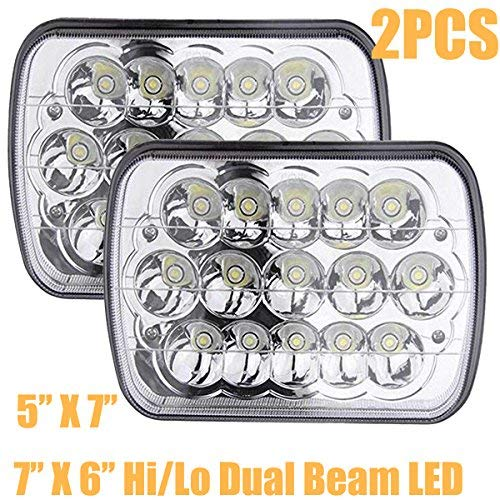 7X6 or 5X7Inch LED Headlights for Ford E250 E350 E450 Super Duty E150 H6054/H6052/H6014 H4/9003 Replacement Bulb Kit 6000k White Super Bright 45W (Package of 2)