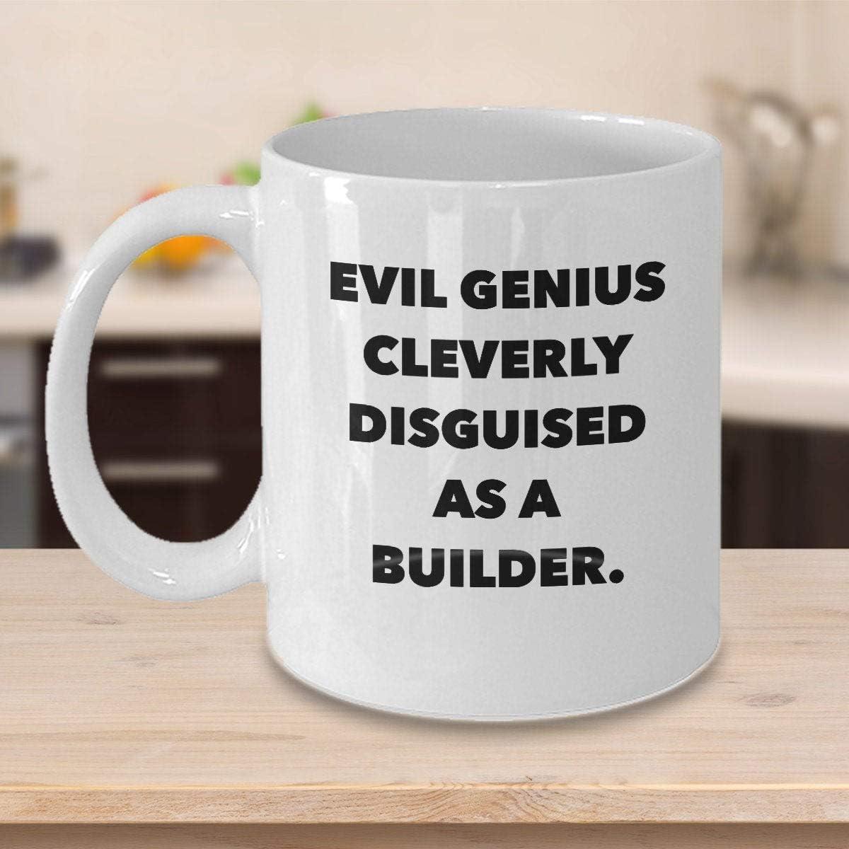 Funny Builder taza de café personalizada, regalos personalizados para arquitectos ingenieros, supervisores LoboursEvil GeniusConstructor