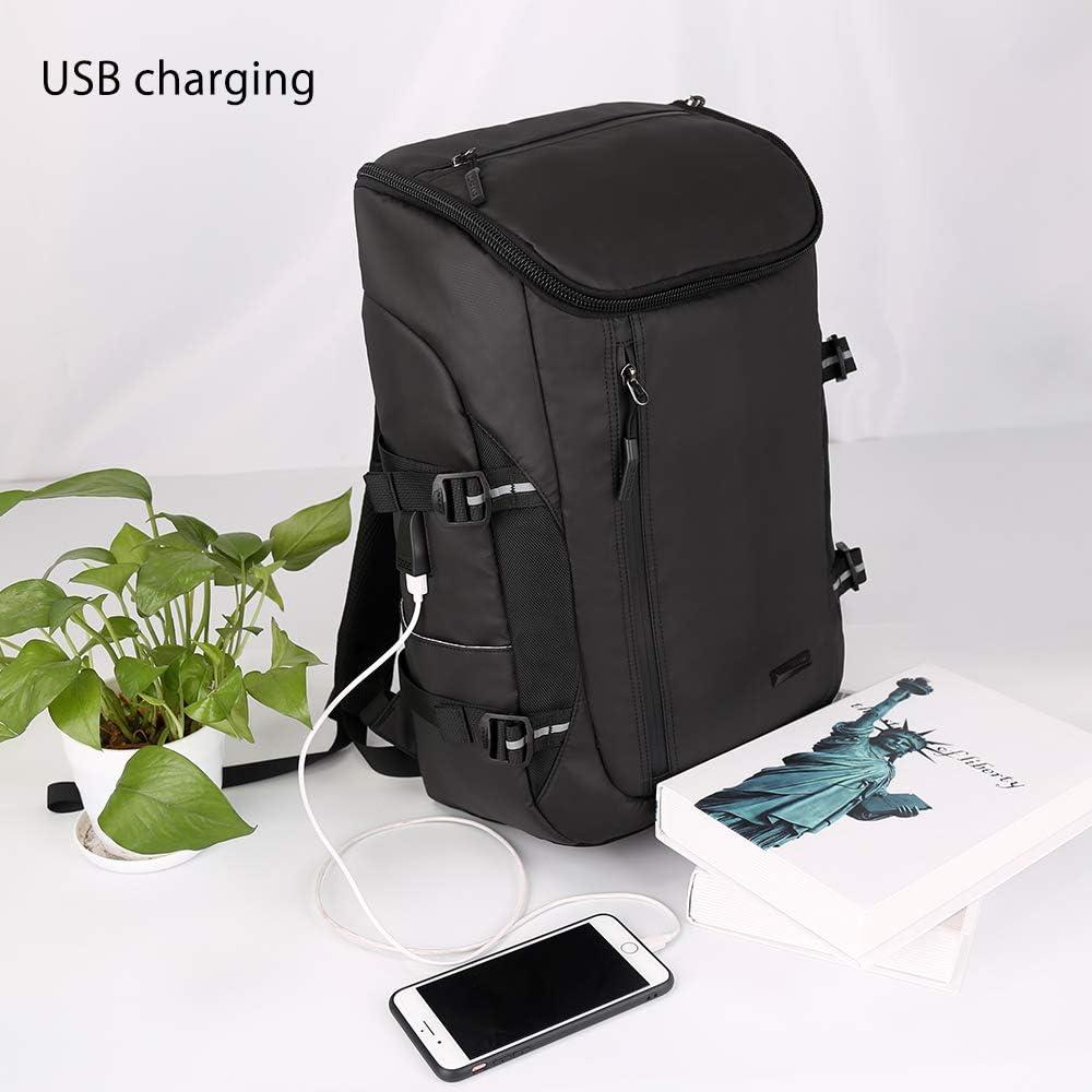 Aoking Men Black School Backpack with USB Port Cool College Knapsack Large Lightweight Laptop Rucksack Bag