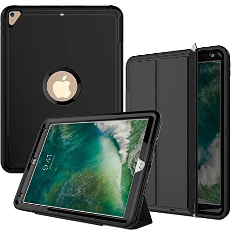 iPad Air3 Case,iPad Pro 10 5 Case, SEYMAC Three Layer Heavy Duty Shockproof  Protective Case with PU Leather Stand & Magnetic Smart Auto Wake/Sleep