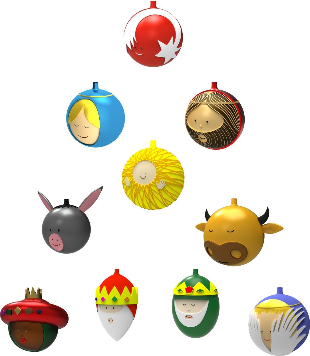 Alessi Amj13S10 Christmas Ornaments In Blown Glass, Set of 10