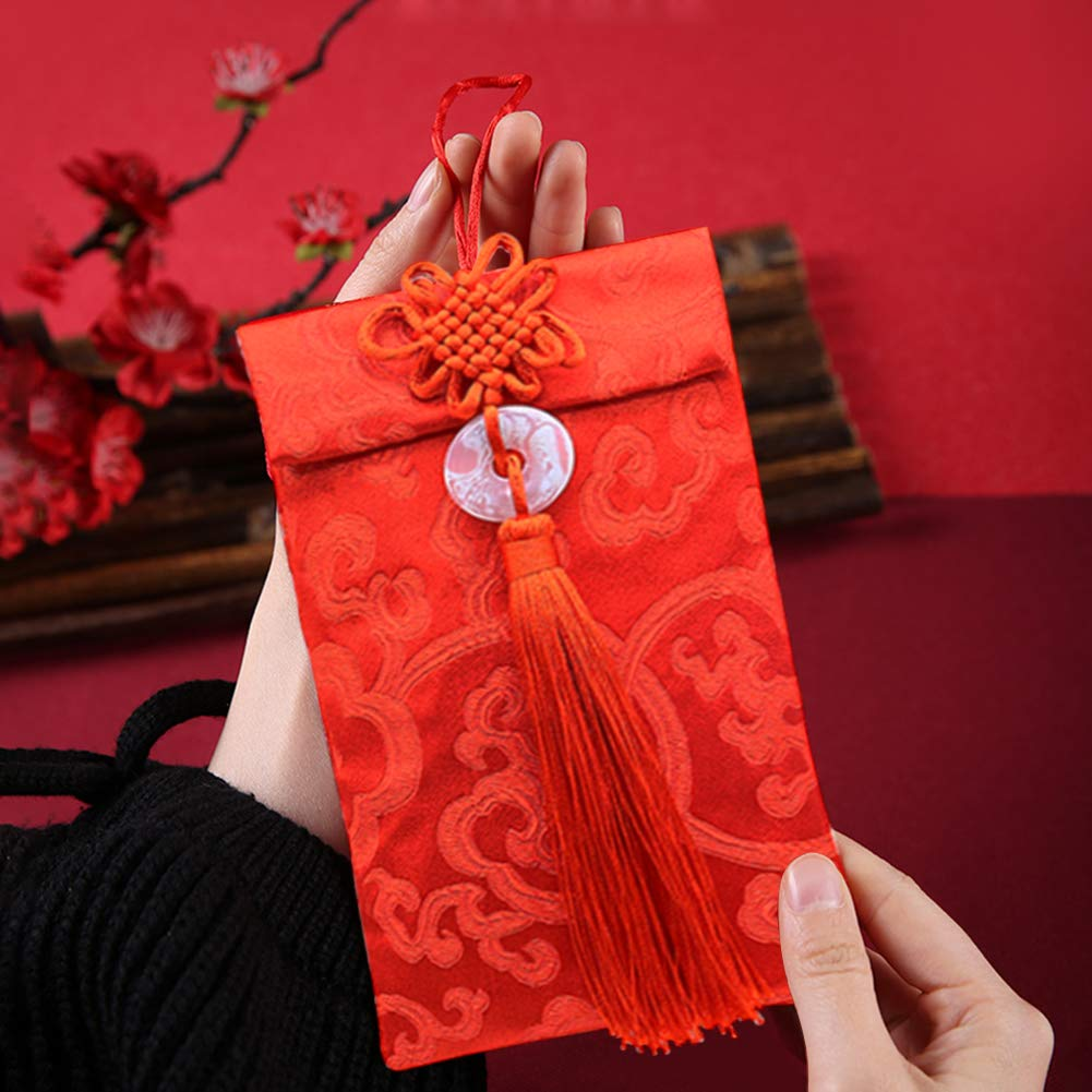 Silk Red Envelopes,3pcs Chinese Element HongBao Card Envelopes Gift Wrap Bags Red Lucky Money Pockets for New Year,Spring Festival,Birthday and Wedding