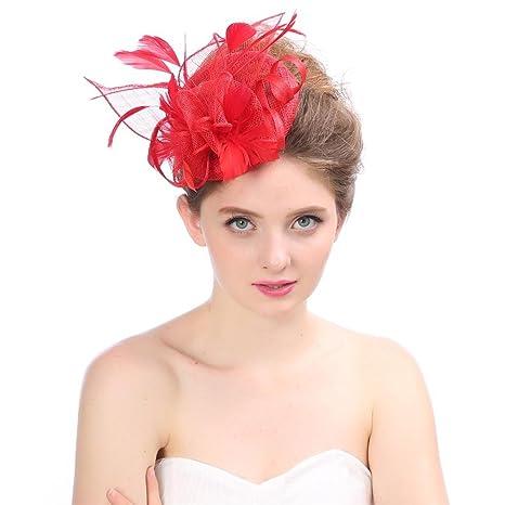 Italily Fascinator Cocktail Tea Party Derby Headwear Hat Donne Cappelli  Cerimonia Piuma Partito Matrimonio Cappello Tulle fac00c55dcea