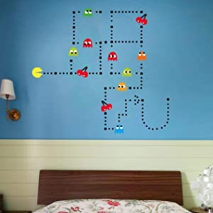Pac-Man Game Wall Decal Cartoon Sticker Kids Bedroom Nursery Room Removable Wall Decor Murals