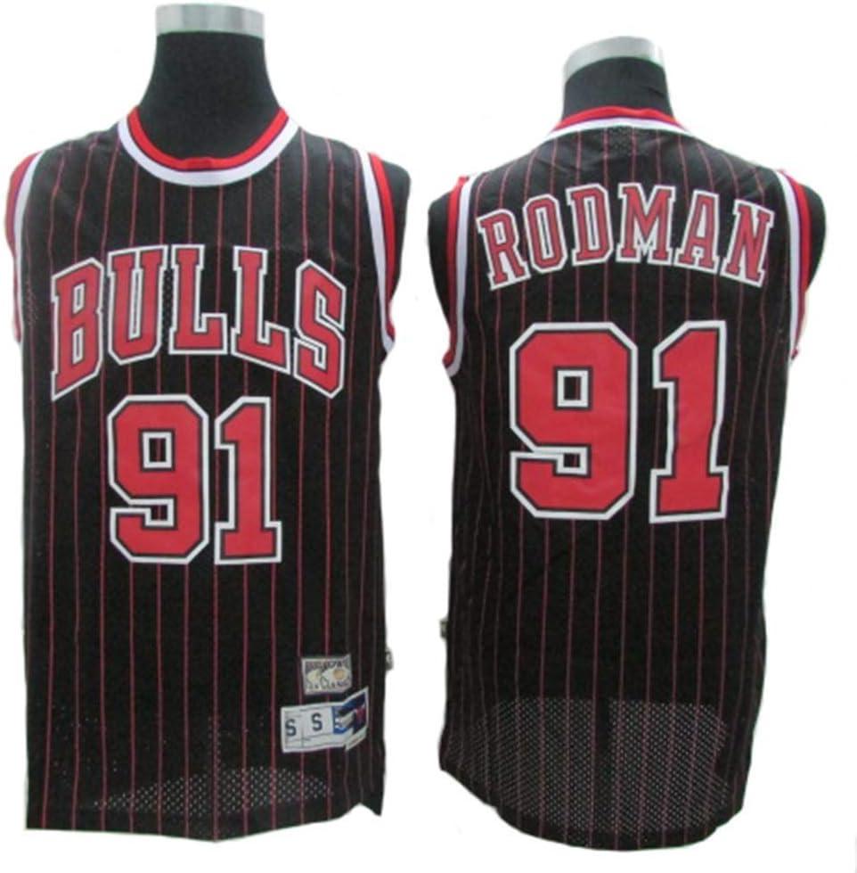 CCKWX Maillots pour Hommes Chicago Bulls # 91 Maillots Dennis Rodman Vintage, Débardeur Respirant en Tissu Swingman Basketball Jersey