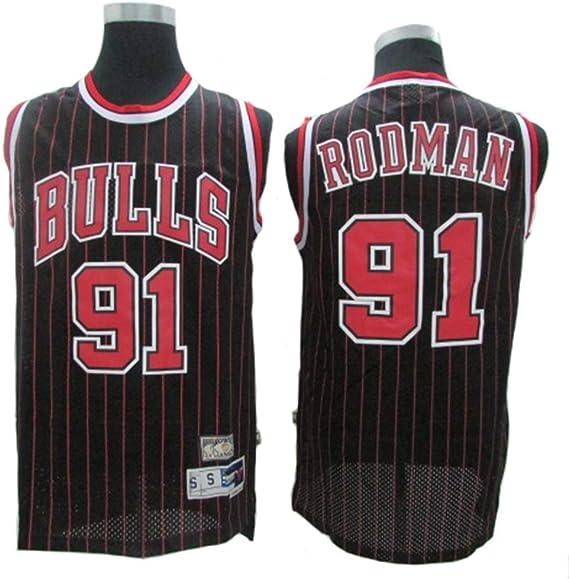 CCKWX Jerseys para Hombres - Chicago Bulls # 91 Dennis Rodman Jerseys Vintage, Cool Swingman Fabric Swingman Camisetas De Baloncesto Chaleco Camiseta Superior: Amazon.es: Deportes y aire libre