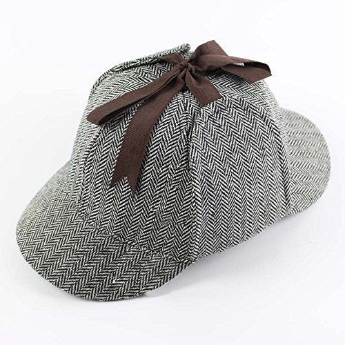 BFJ Sherlock Holmes Detective Herringbone Deerstalker Hat Double Brimed Cap