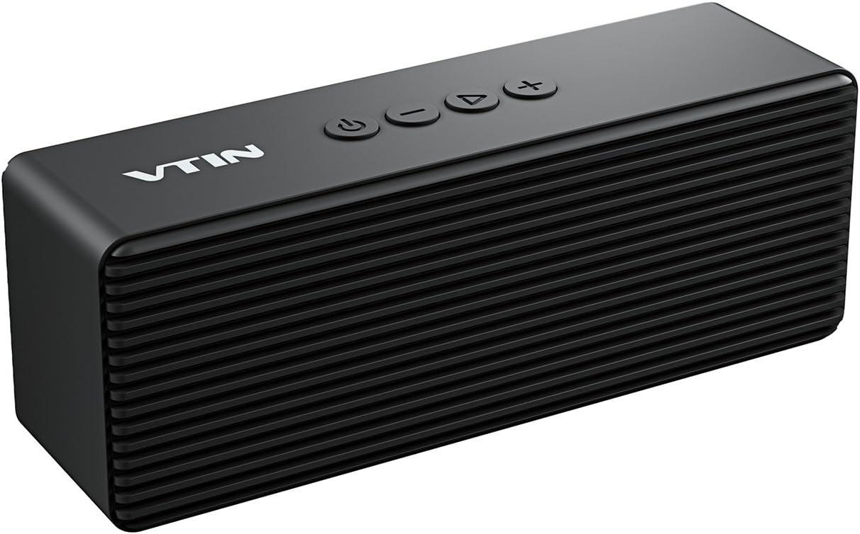VTIN R1- Altavoz Bluetooth Portátiles, Bluetooth V4.2 con HiFi Audio y Bajos Mejorados, Llamadas Manos Libres, AUX-IN Puerto (el Jack 3,5mm), Sporte Tarjeta TF (Negro)