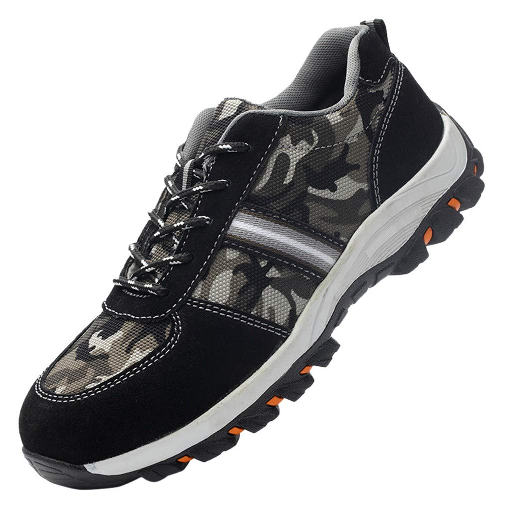 Street Sneakers Men Work Sneakers ✔ Men's Steel Toe Work Shoes Safety Shoes Breathable Casual Construction Shoes Camouflage