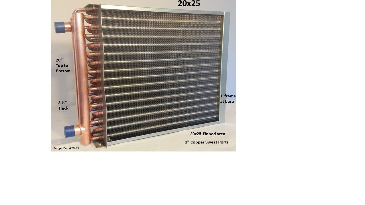 20x25 Water to Air Heat Exchanger 1'' Copper Ports w/ EZ Install Front Flange