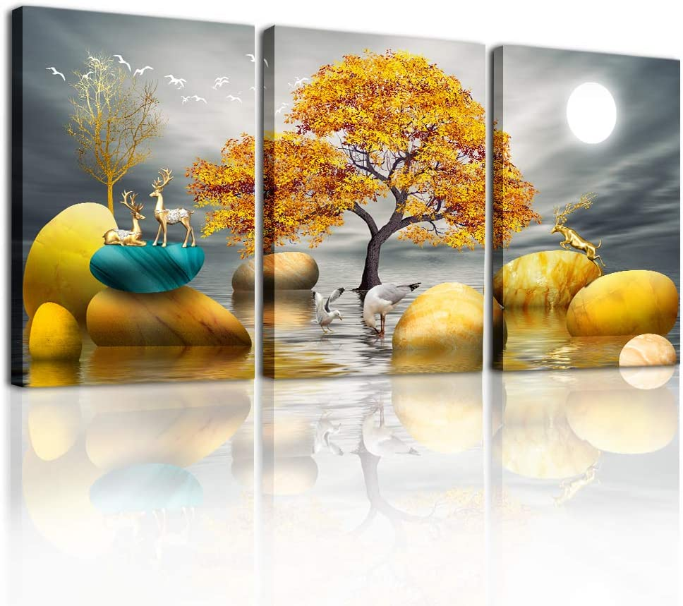Canvas Wall Art for Living Room Family Wall Decorations for Bedroom Modern Bathroom Wall Decor Paintings Yellow Tree Hang Pictures Artwork Inspirational Canvas Art Prints Kitchen Home Decor 3 Piece