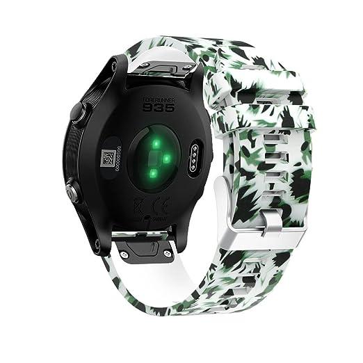 Garmin Forerunner 935 Print Pulsera de Correa Silicona de liberación rápida Strap de Suave Correa Reloj de Reemplazo Watch Venda de instalación rápida ...