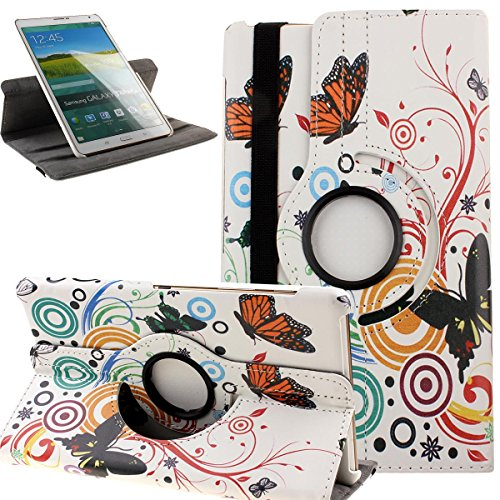 NSSTAR Samsung Galaxy Tab S 8.4 Case,Case for Galaxy Tab S T700,Colorful Painted Butterfly Flower UK US Flag Leopard Bowknot PU Leather 360 Rotating Fold Flip Stand Cover Case for Samsung Galaxy Tab S SM-T700 8.4 Inch Android Tablet 2014 Release (Will NOT Fit Tab Pro 8.4) (White Butterfly)