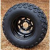 10' Black Steel Golf Cart Wheels and 20x10-10 DOT All Terrain Golf Cart Tires - Set of 4