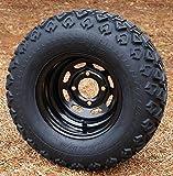 10'' Black Steel Golf Cart Wheels and 20x10-10 DOT All Terrain Golf Cart Tires - Set of 4