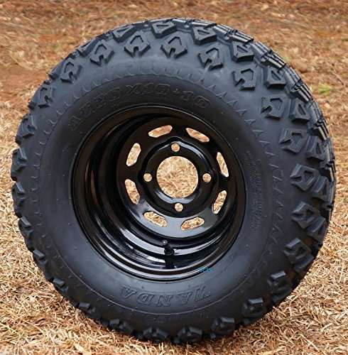 10' Black Steel Golf Cart Wheels and 20x10-10 DOT All Terrain Golf Cart Tires - Set of 4