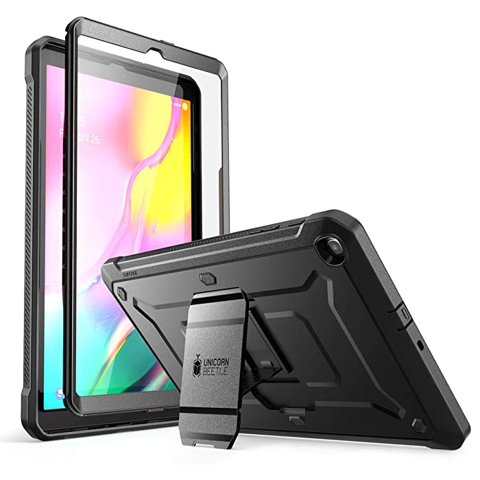 SupCase Unicorn Beetle Pro Series Designed for Galaxy Tab A 10.1 (2019 Release), Full-Body Rugged Heavy Duty Protective Case with Built-in Screen Protector for Galaxy Tab A 10.1 Inch 2019 (Black)