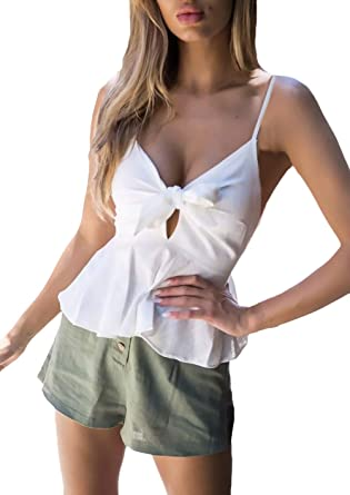 Betrothales Blusa Sin Mangas De Verano Blusa con Cuello En V De Color Liso Sling Volantes con Camisas Tops Camisas De Mujer Blusas Sin Espalda con Cuello De Pico para Mujer: Amazon.es: