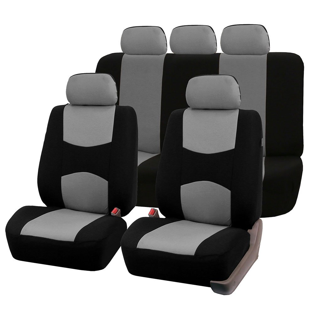 FH Group FH-FB051115 Multifunctional Flat Cloth Seat Covers (Airbag Compatible & Split), Gray/Black Color - Fit Most Car, Truck, SUV, or Van by FH Group