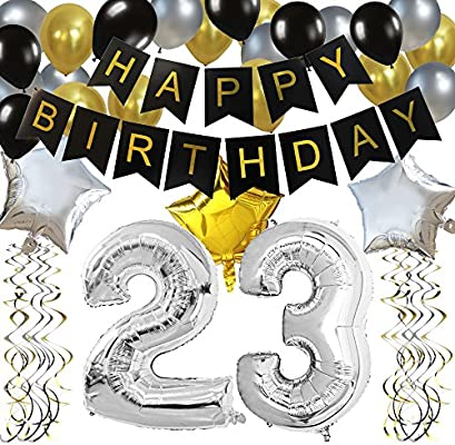 KUNGYO Classy 23rd Birthday Party Decorations Kit Black Happy Brithday BannerSilver 23 Mylar Foil Balloon Star Latex BalloonHanging Swirls