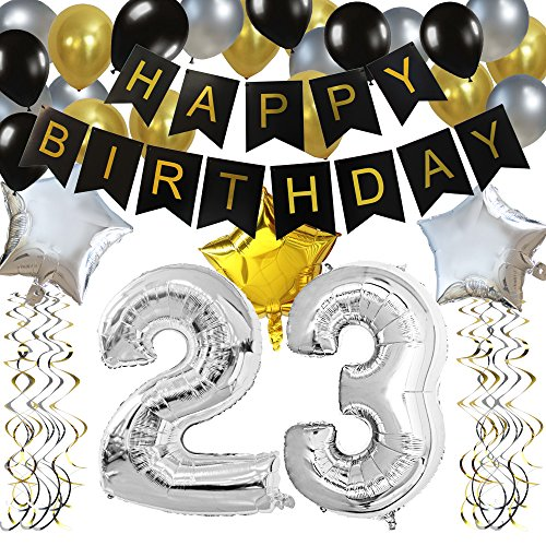 KUNGYO Classy 23rd Birthday Party Decorations Kit-Black Happy Brithday Banner,Silver 23 Mylar Foil Balloon, Star, Latex Balloon,Hanging Swirls, Perfect 23 Years Old Party Supplies]()