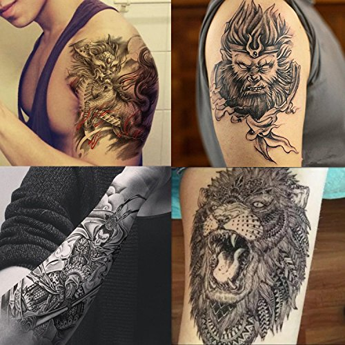 Dalin 4 Sheets Temporary Tattoos, The Monkey King, Lion, Qilin