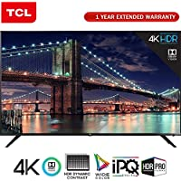 TCL 65 Class 6-Series 4K HDR Roku Smart LED TV 2018 Model (65R617) with 1 Year Extended Warranty
