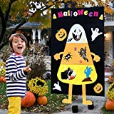 OurWarm Halloween Felt Candy Corn Bean Bag Hanging Toss Games with 3 Bean Bags, Pumpkin Ghost Toss Indoor and Outdoor Party Game for Halloween Decorations