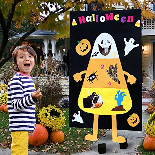 OurWarm Halloween Candy Corn Bean Bag Toss Games with 3 Large Bean Bags, Halloween Games for Kids Party Halloween Decorations -