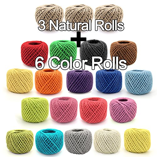 (BambooMN 2025 ft 2mm Crafty Jute Twine String Hemp Jute, 3 Natural Rolls and 6 Surprise Color Rolls for Artworks, DIY Crafts, Gift Wrapping, Picture Display and Embellishments)