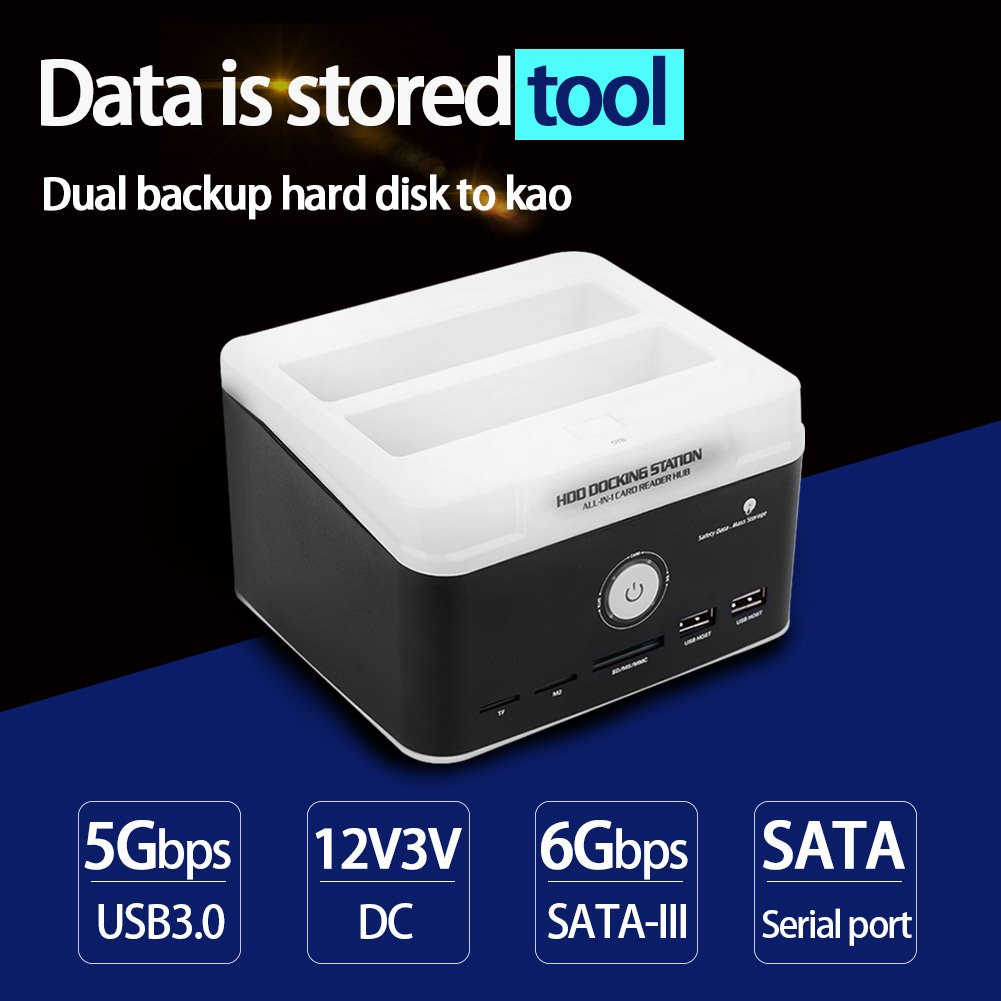 Fosa Dual-Bay 2.5inch & 3.5inch USB3.0 SATA/IDE Hard Drive Docking Station HUB Card Reader (Black)