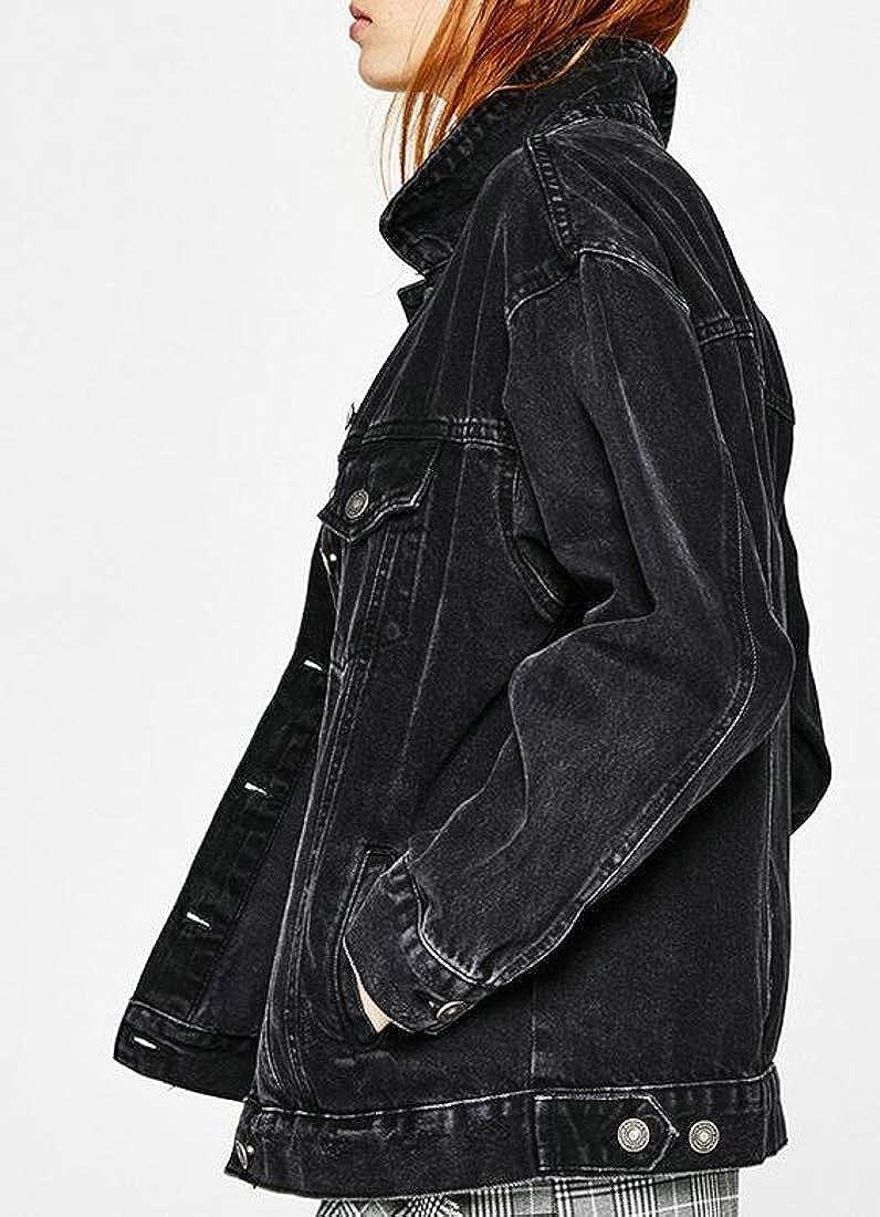 YULEgowinner Women Boyfriend Loose Coat Candy Color Washed Jean Denim Jackets
