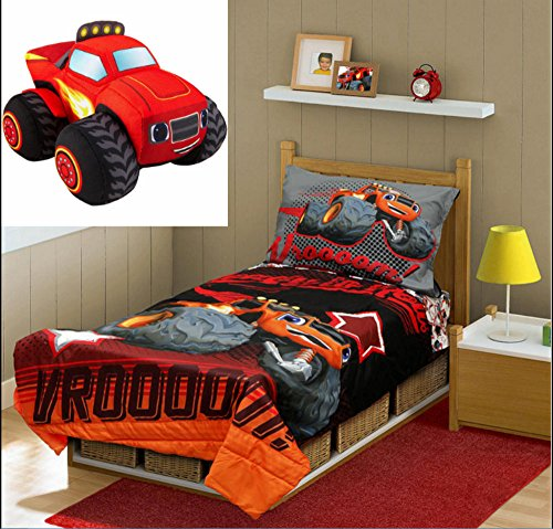 Toddler Bedding Sets Boys 4 Pieces with Pillow Plush Stuffed Toy Character Paw Patrol Pj Masks Cars Blaze Lion Guard (Blaze and the Monster Machines with Plush Blaze)