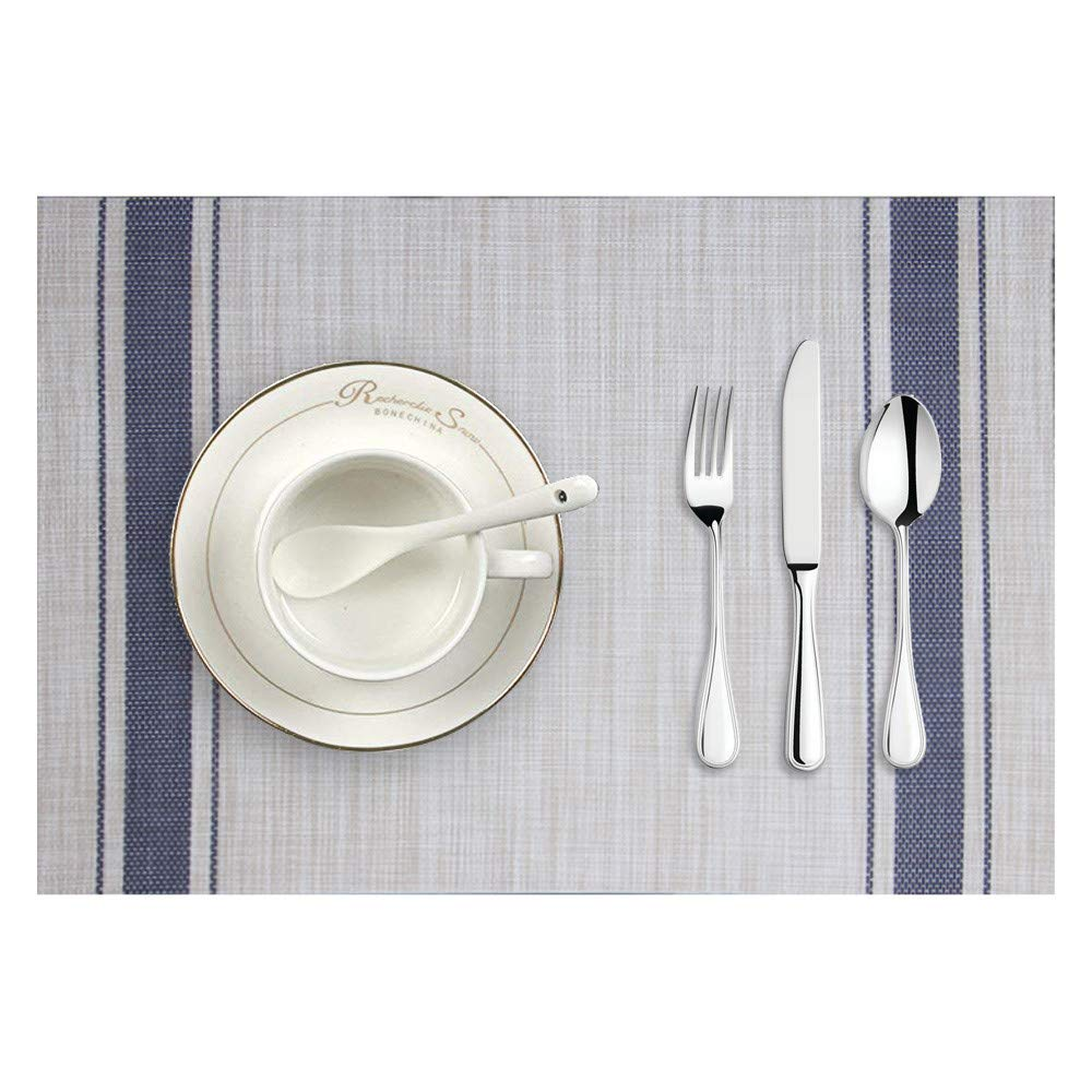 Longay Placemat Woven Non-Slip PVC Insulation Placemat Washable Table Mats for Kitchen (Blue)
